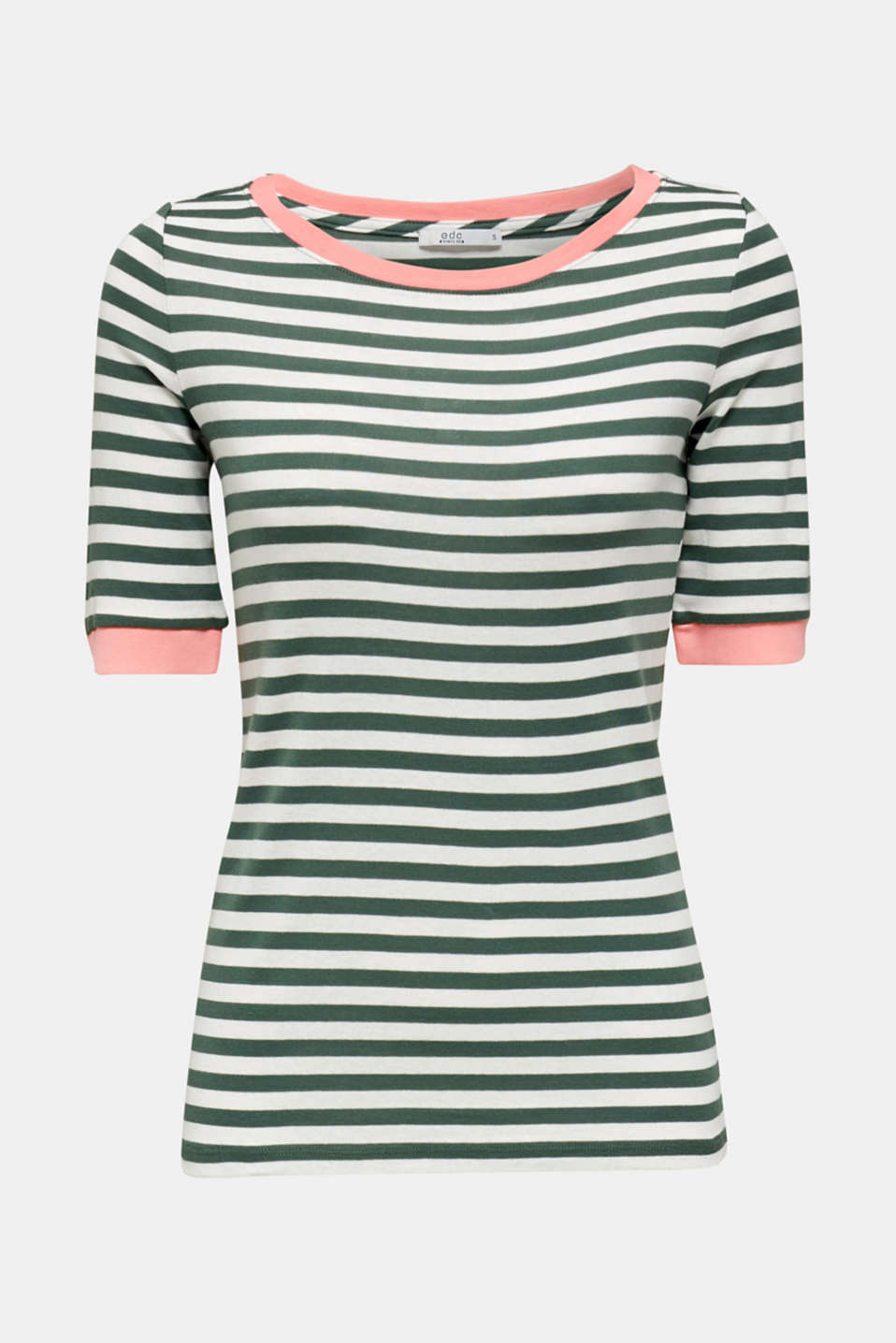 Striped ribbed T-shirt, 100% cotton, KHAKI GREEN, detail image number 6