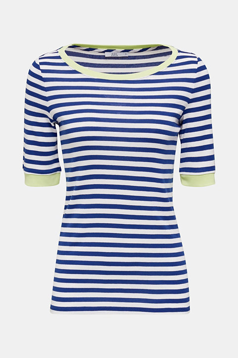 Striped ribbed T-shirt, 100% cotton