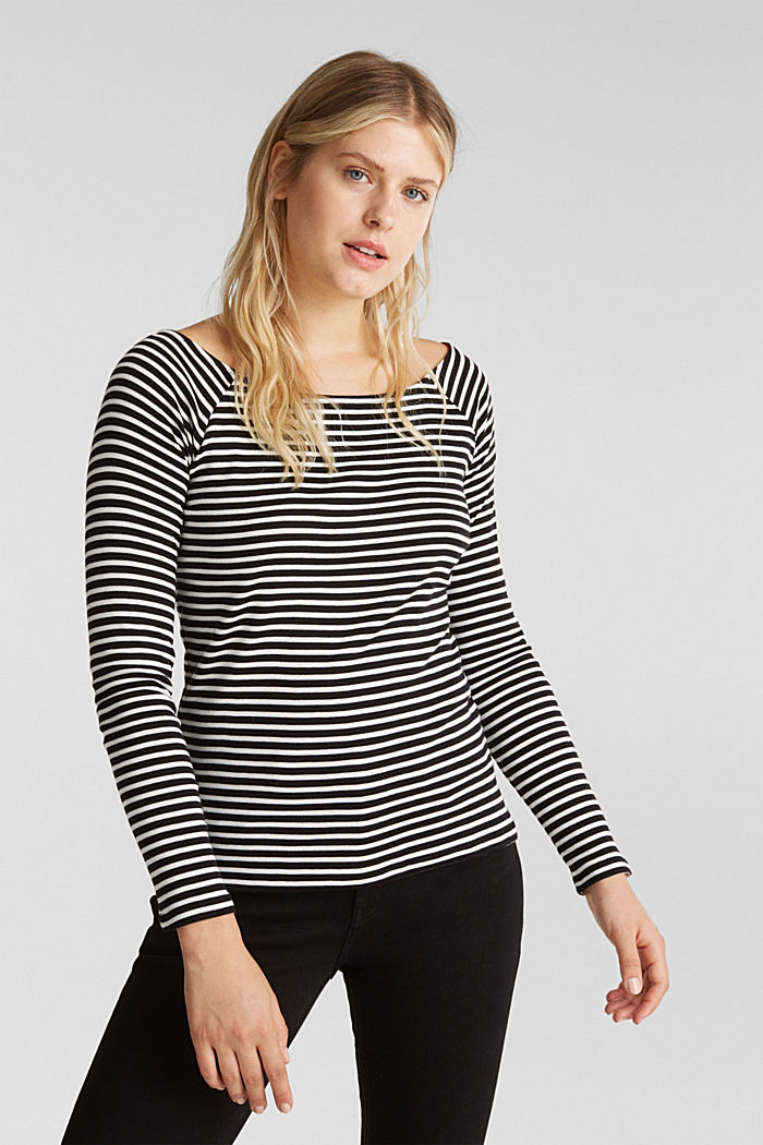 Striped long sleeve T-shirt, 100% organic cotton