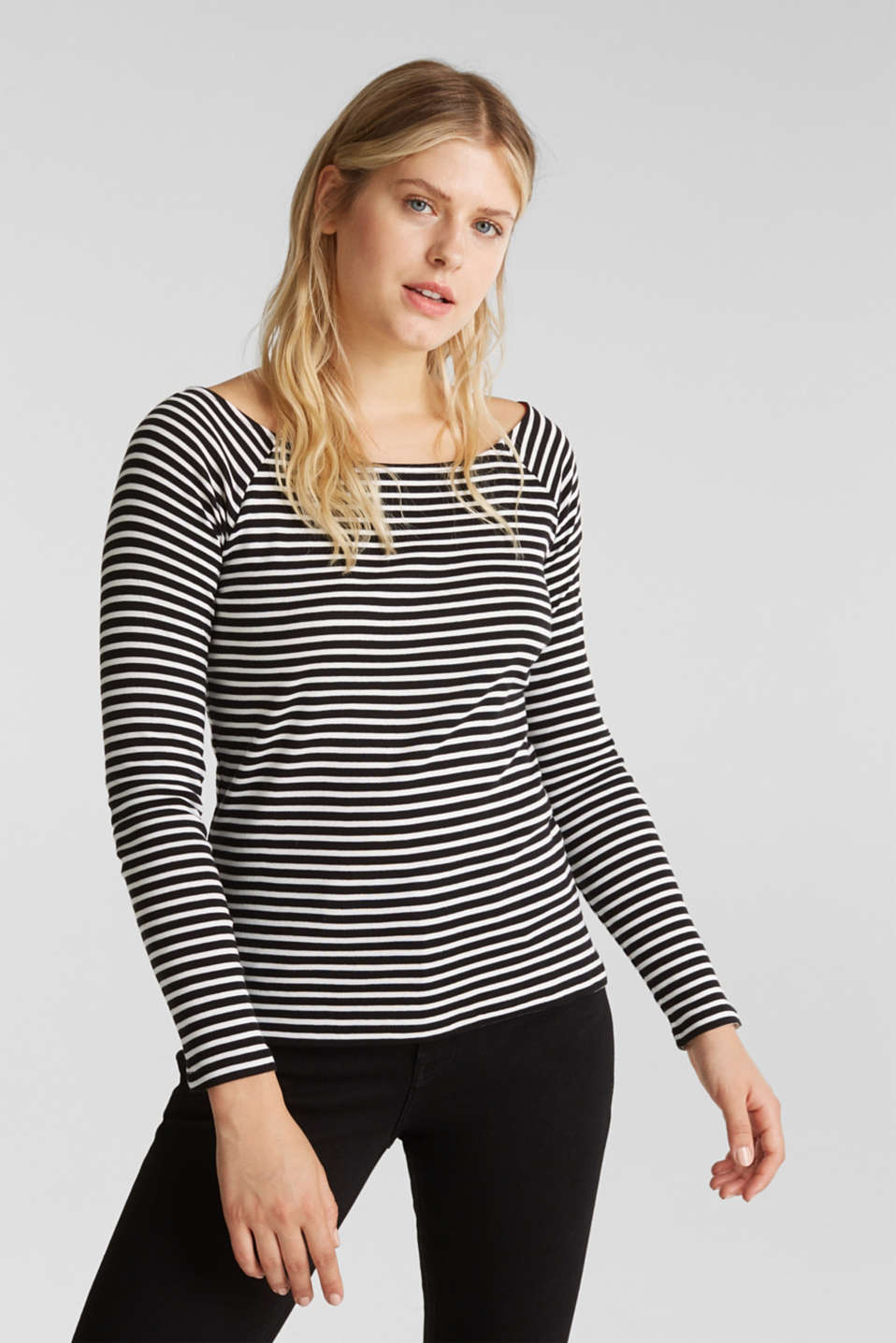 edc - Striped long sleeve T-shirt, 100% organic cotton
