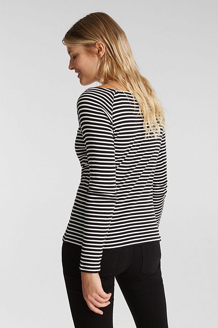 Striped long sleeve T-shirt, 100% organic cotton, BLACK, detail image number 3