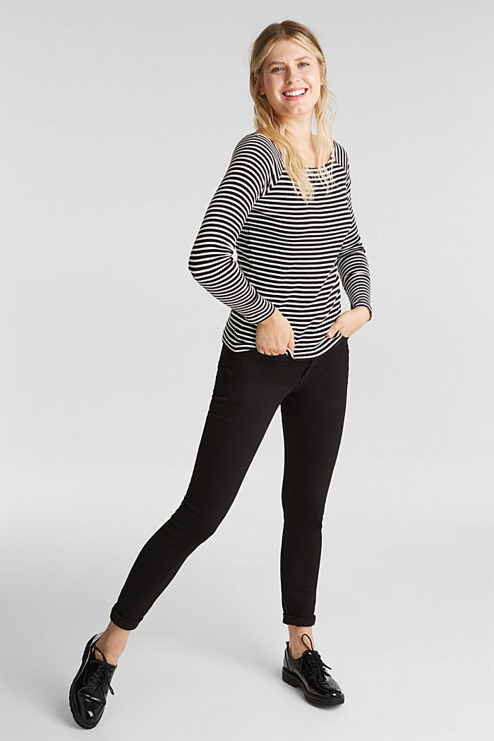 Striped long sleeve T-shirt, 100% organic cotton, BLACK, detail image number 1