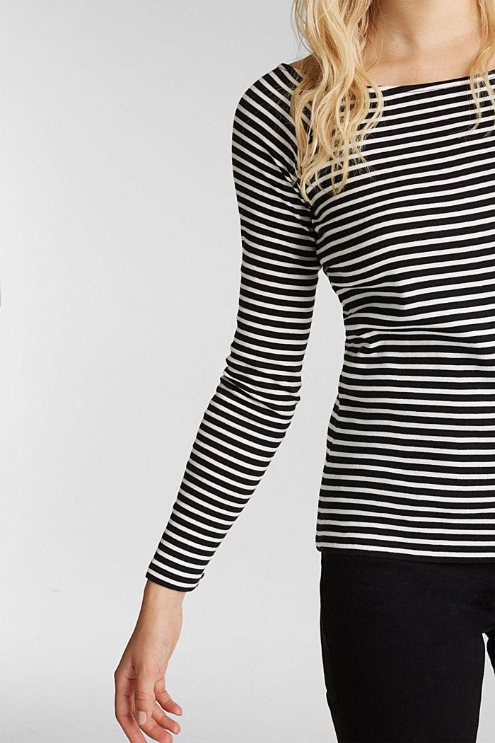 Striped long sleeve T-shirt, 100% organic cotton, BLACK, detail image number 2
