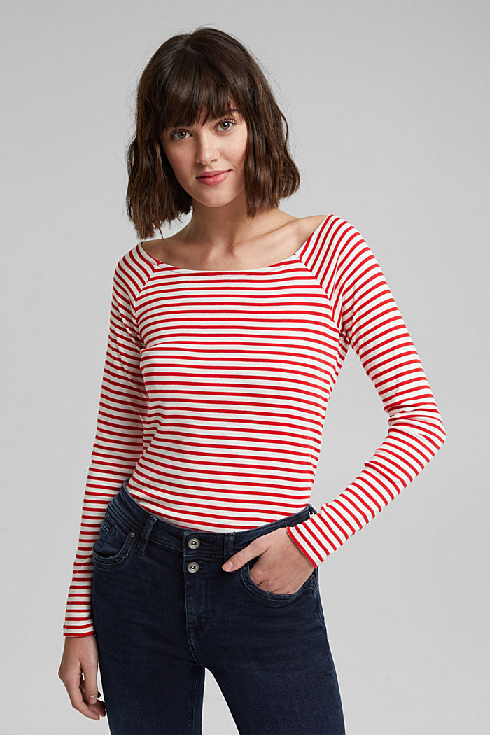 Striped long sleeve T-shirt, 100% organic cotton, RED, detail image number 0