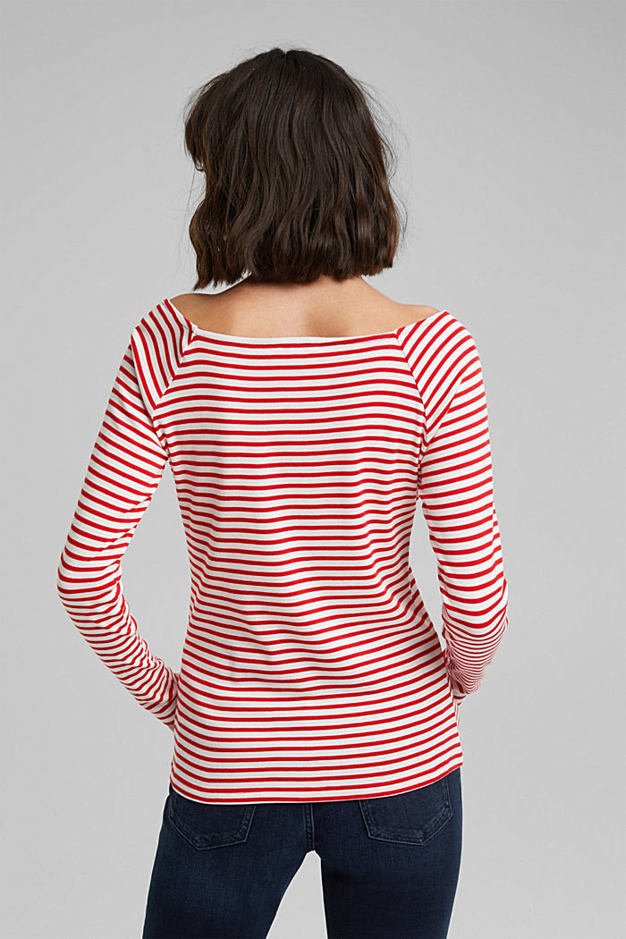 Striped long sleeve T-shirt, 100% organic cotton, RED, detail image number 3