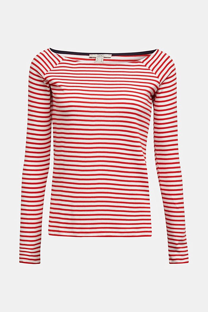 Striped long sleeve T-shirt, 100% organic cotton, RED, detail image number 6