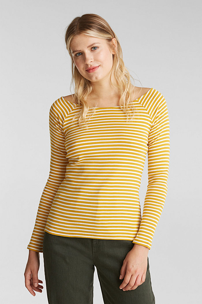 Striped long sleeve T-shirt, 100% organic cotton, BRASS YELLOW, overview
