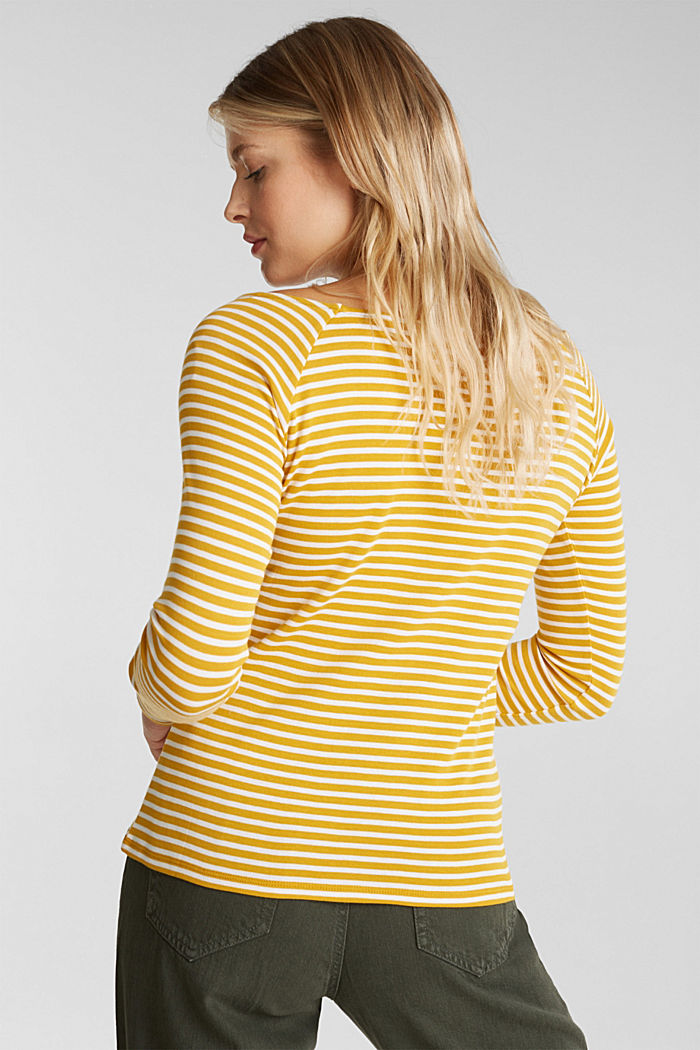 Striped long sleeve T-shirt, 100% organic cotton, BRASS YELLOW, detail image number 3