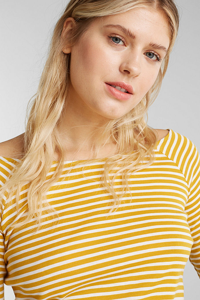 Striped long sleeve T-shirt, 100% organic cotton, BRASS YELLOW, detail image number 5