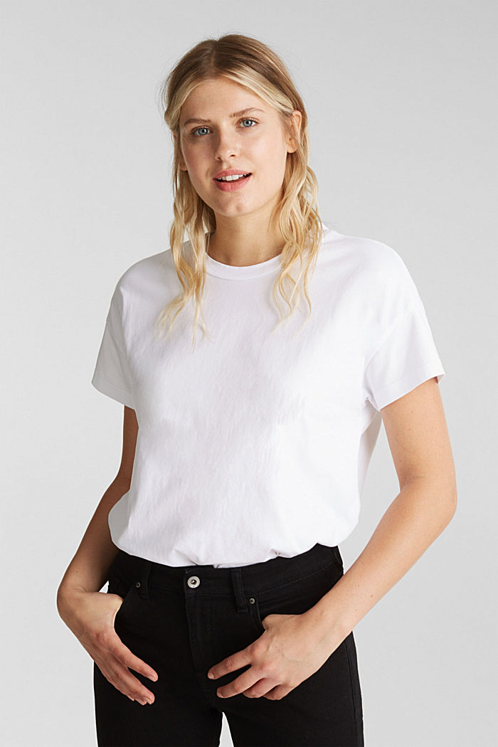 Basic T-shirt made of 100% cotton, WHITE, detail image number 0