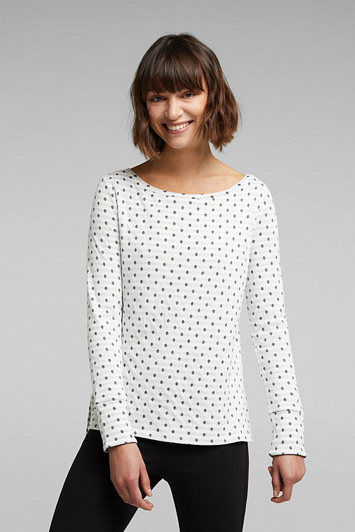 Double-faced long sleeve top, 100% organic cotton, OFF WHITE, detail image number 0