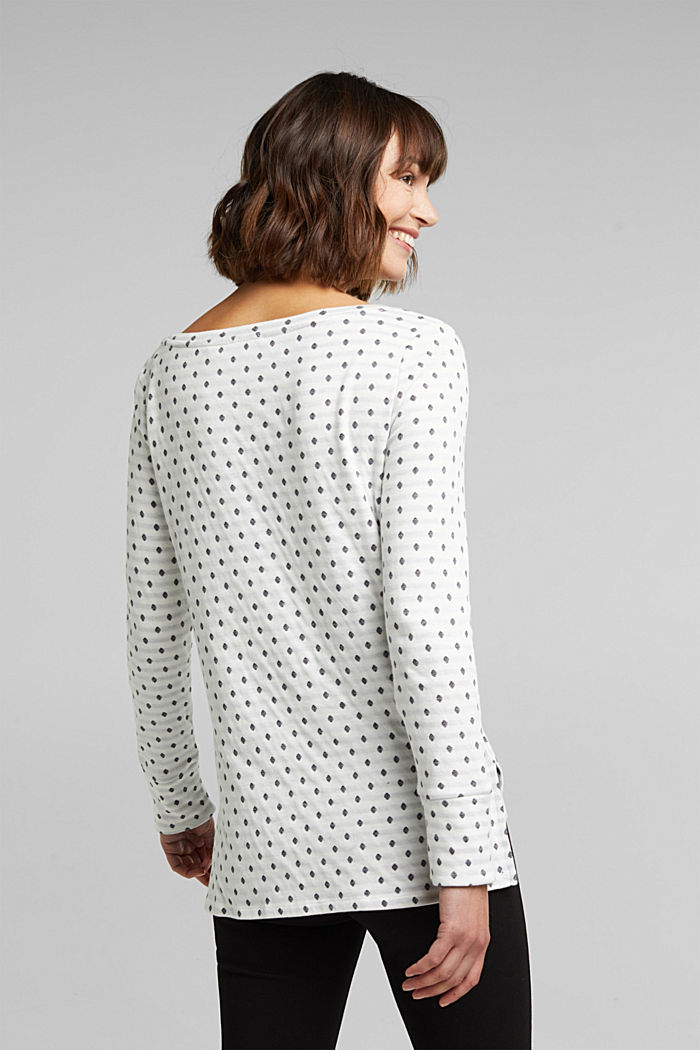 Double-faced long sleeve top, 100% organic cotton, OFF WHITE, detail image number 3
