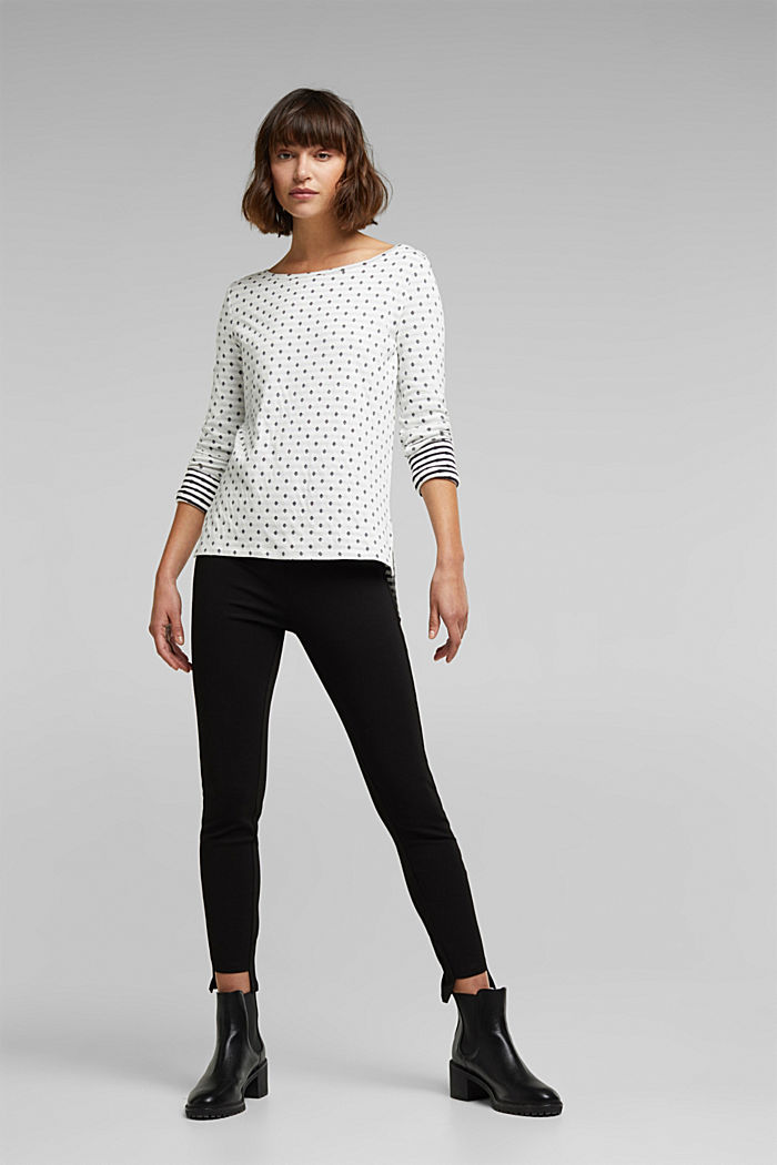 Double-faced long sleeve top, 100% organic cotton, OFF WHITE, detail image number 1