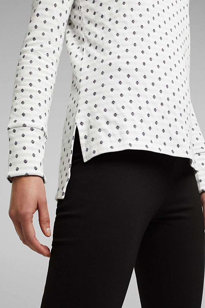 Double-faced long sleeve top, 100% organic cotton, OFF WHITE, detail image number 2