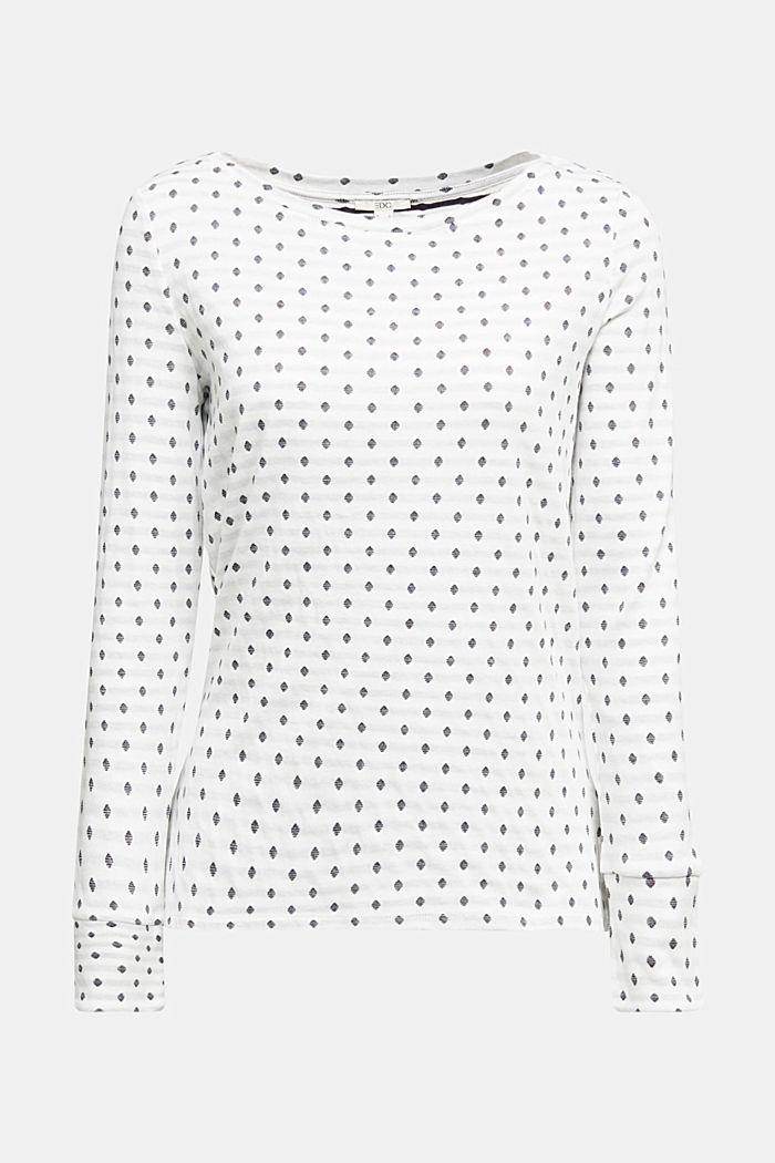 Double-faced long sleeve top, 100% organic cotton, OFF WHITE, detail image number 5