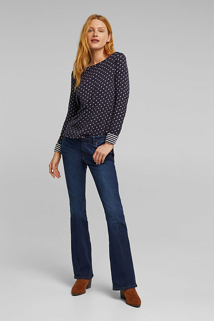 Double-faced long sleeve top, 100% organic cotton, NAVY, detail image number 1