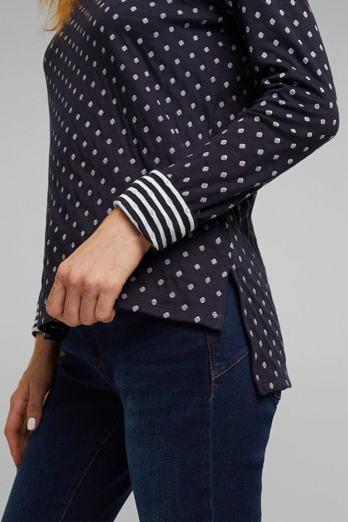 Double-faced long sleeve top, 100% organic cotton, NAVY, detail image number 2