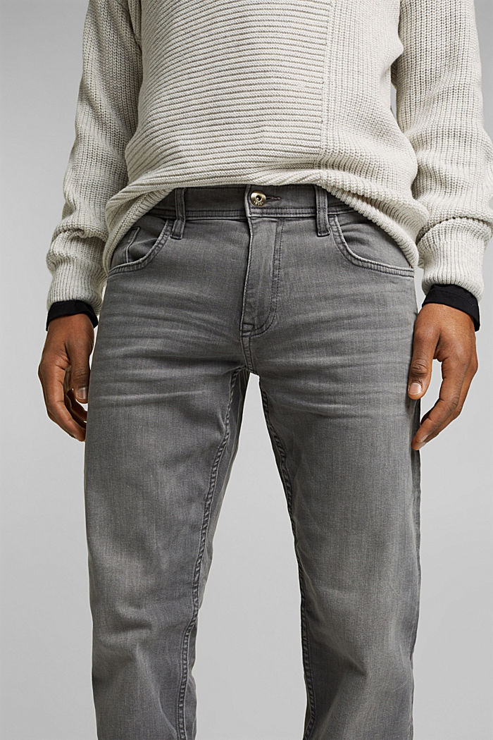 Basic jeans with organic cotton, GREY MEDIUM WASHED, detail image number 3