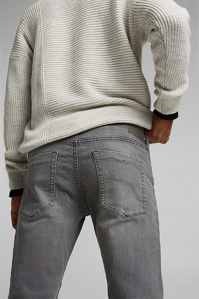 Basic jeans with organic cotton, GREY MEDIUM WASHED, detail image number 5