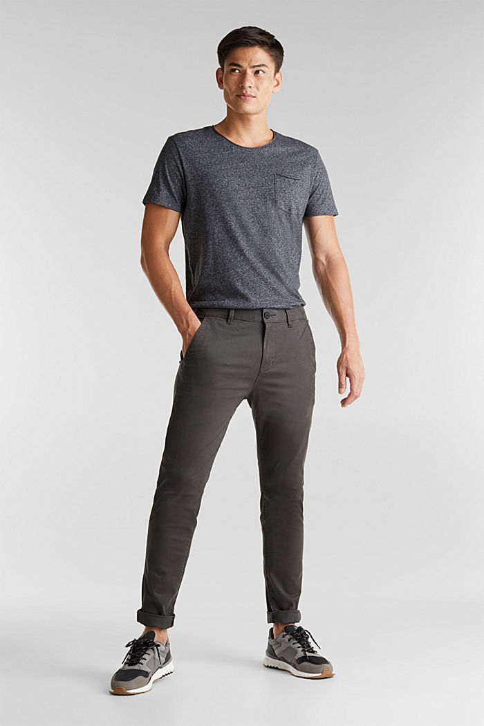 Stretch cotton chinos, ANTHRACITE, detail image number 1