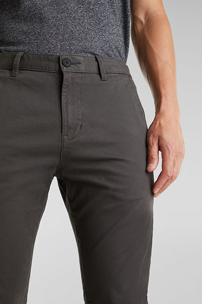 Stretch cotton chinos, ANTHRACITE, detail image number 2