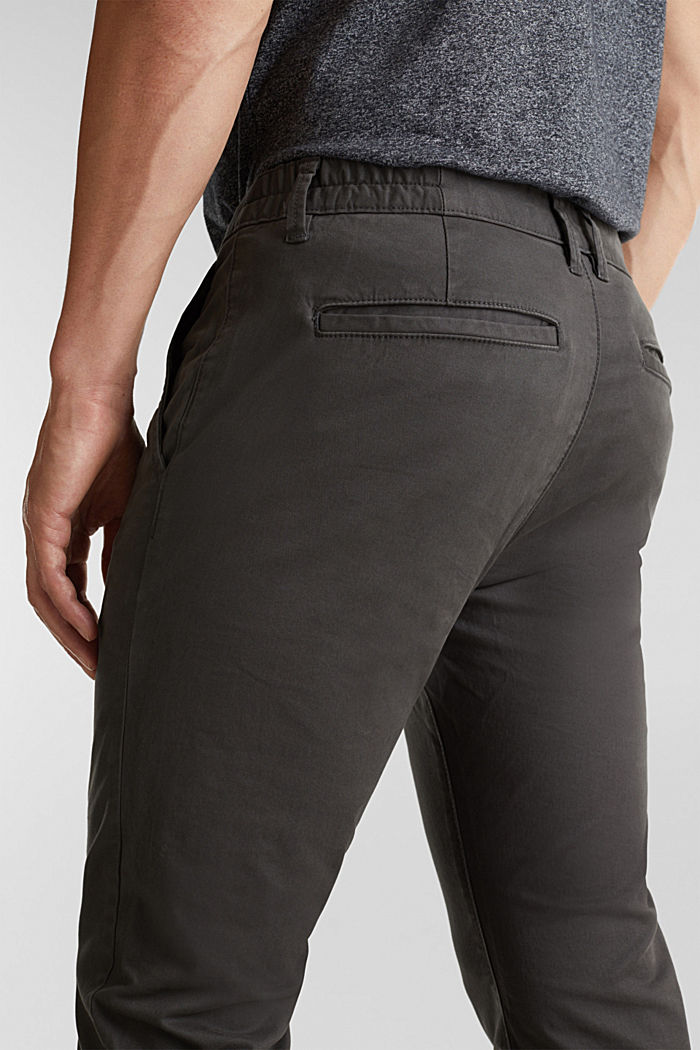 Stretch cotton chinos, ANTHRACITE, detail image number 5