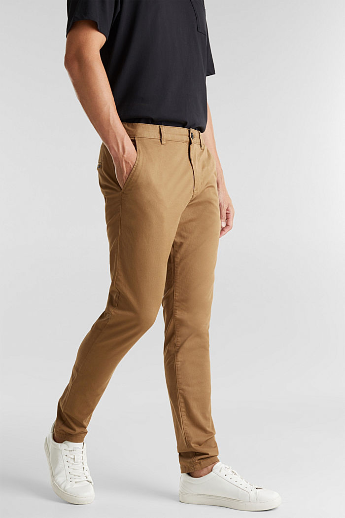Stretch cotton chinos, CAMEL, detail image number 0
