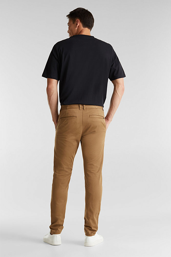 Stretch cotton chinos, CAMEL, detail image number 3