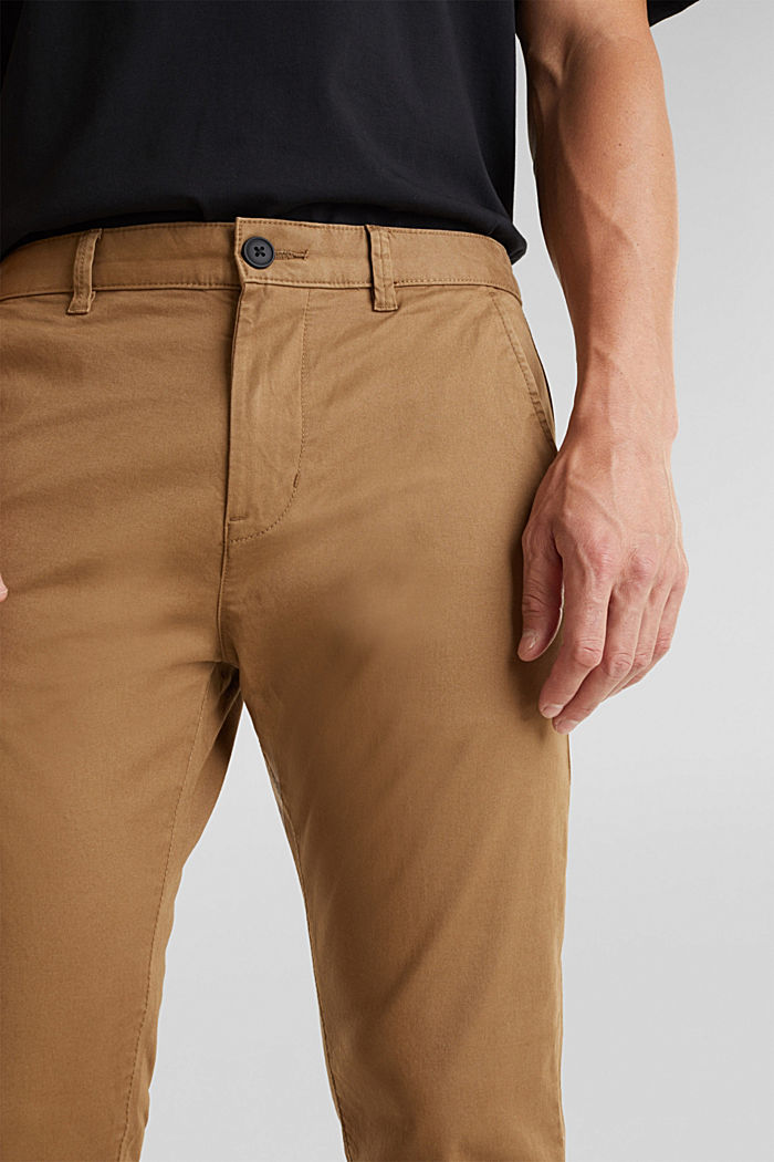 Stretch cotton chinos, CAMEL, detail image number 2