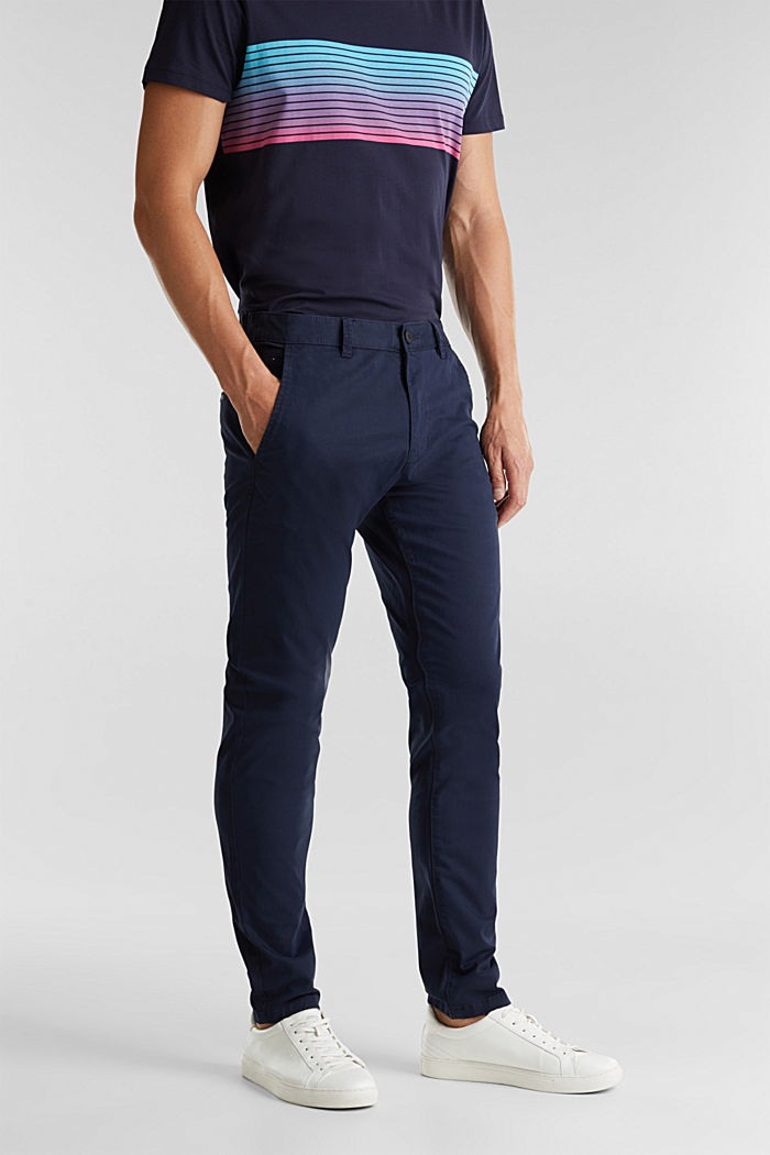 Stretch cotton chinos, NAVY, detail image number 0