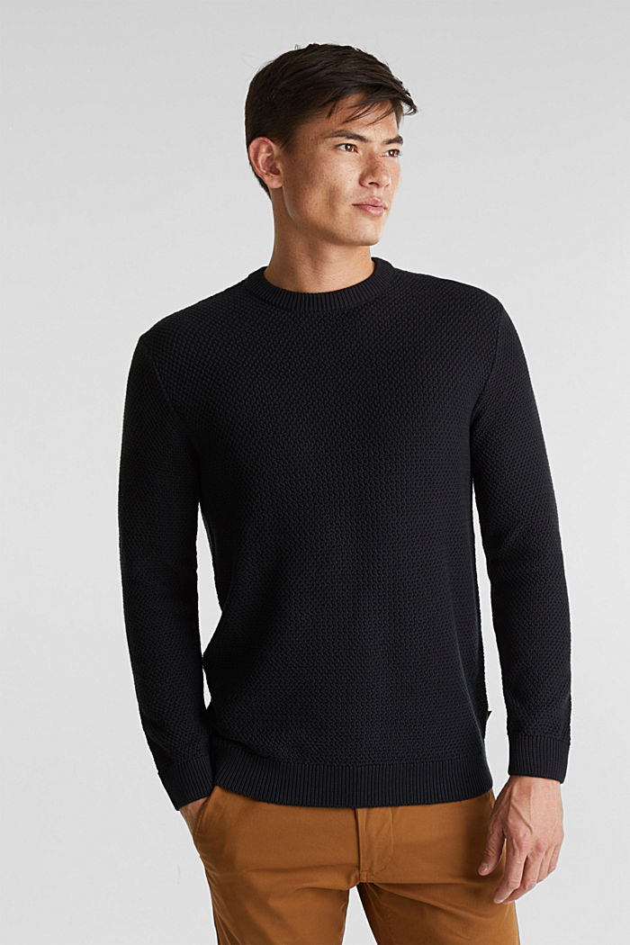 Pullover aus 100% Organic Cotton, BLACK, detail image number 0