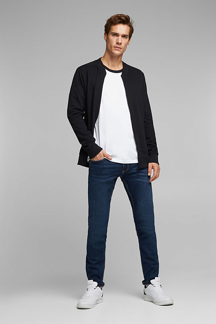 Sweat cardigan with a zip, BLACK, detail image number 1