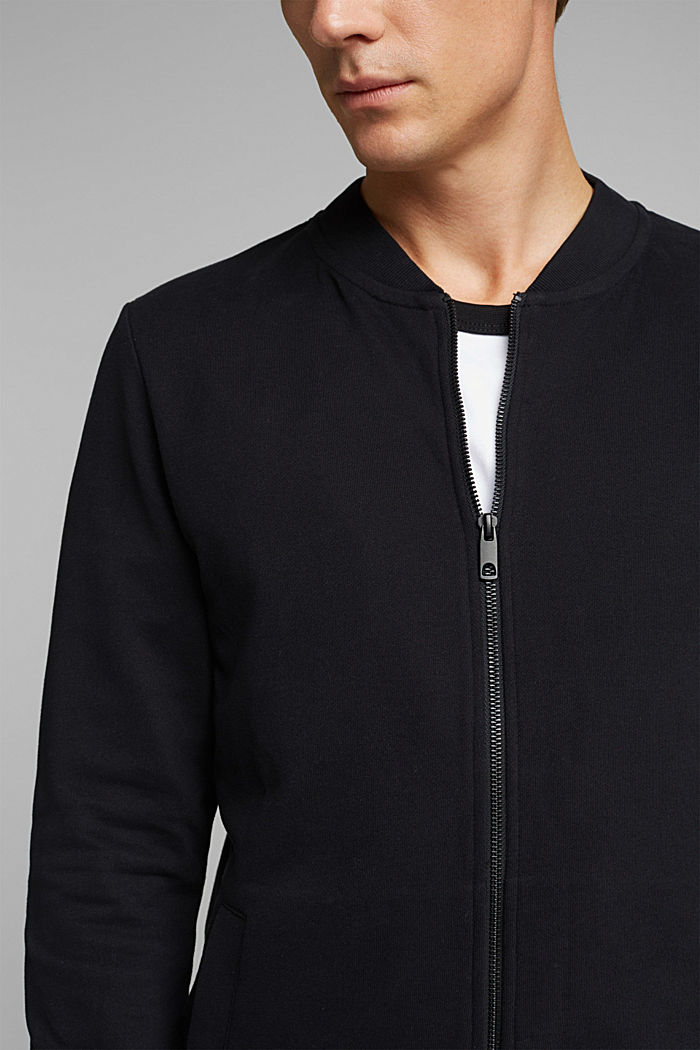 Sweat cardigan with a zip, BLACK, detail image number 2