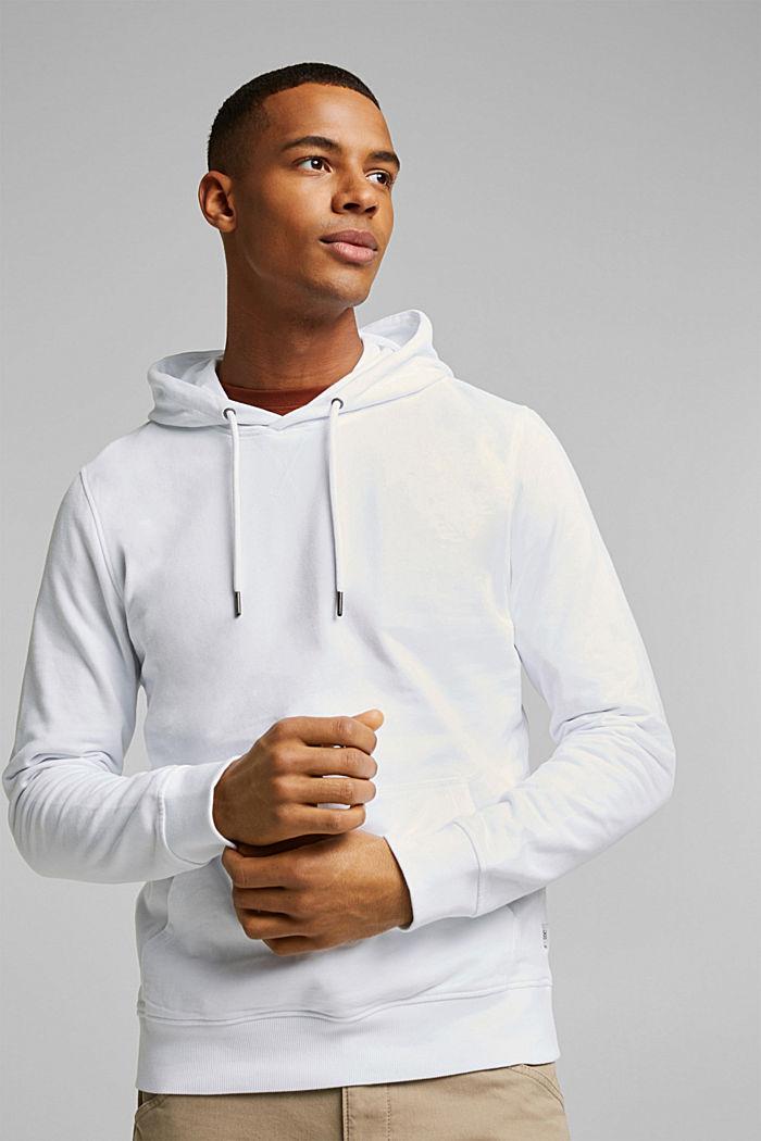 Sweatshirt hoodie in 100% cotton, WHITE, detail image number 0