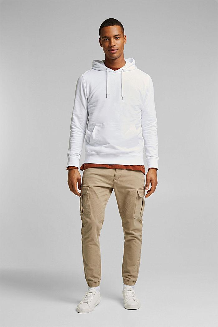 Sweatshirt hoodie in 100% cotton, WHITE, detail image number 4