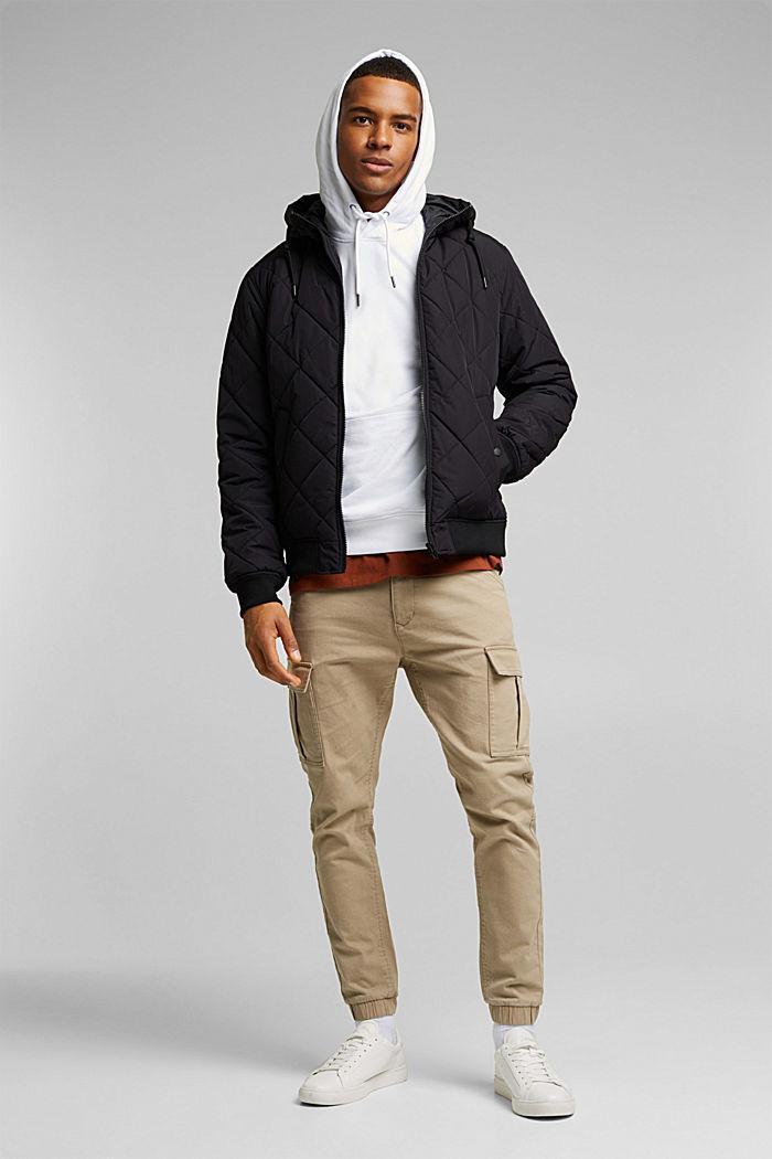 Sweatshirt hoodie in 100% cotton, WHITE, detail image number 1