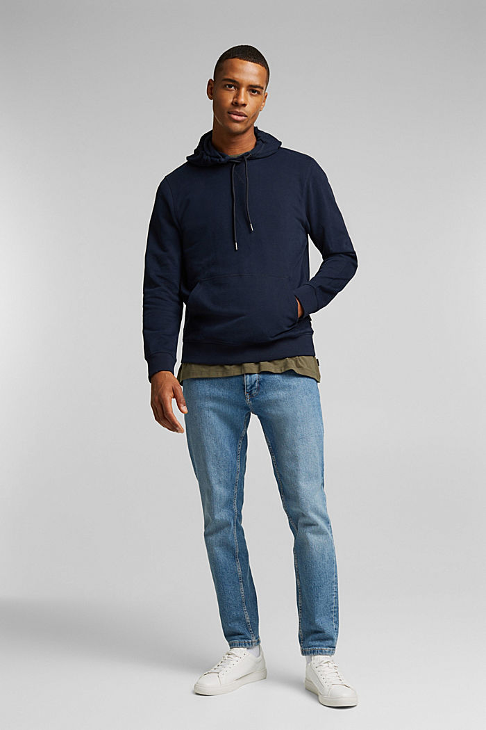 Sweatshirt hoodie in 100% cotton, NAVY, detail image number 1