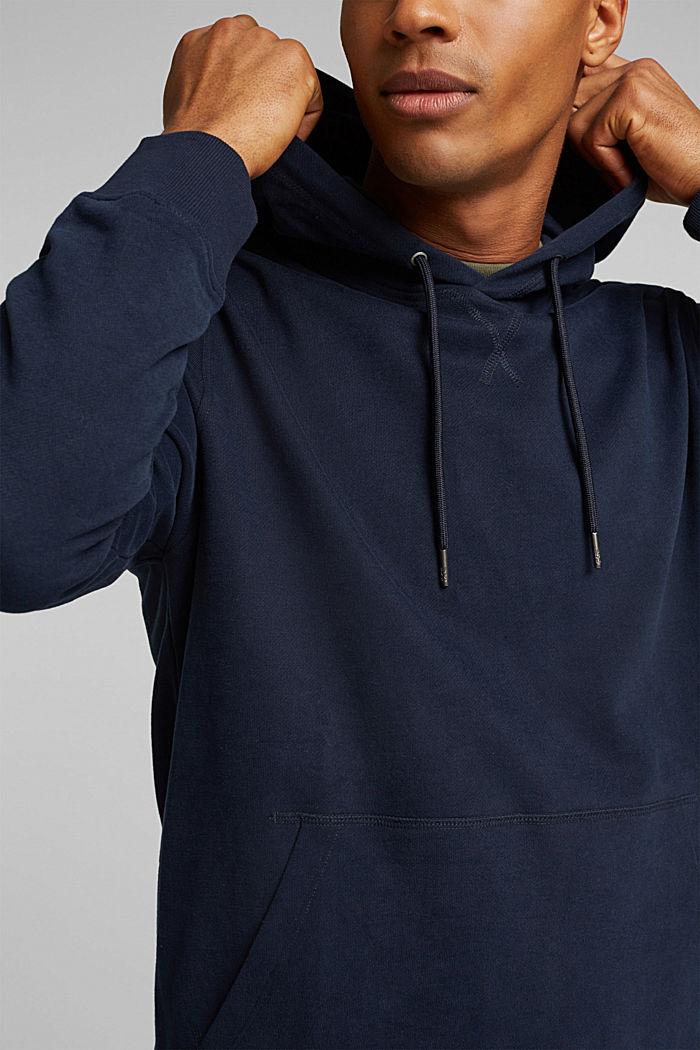 Sweatshirt hoodie in 100% cotton, NAVY, detail image number 2