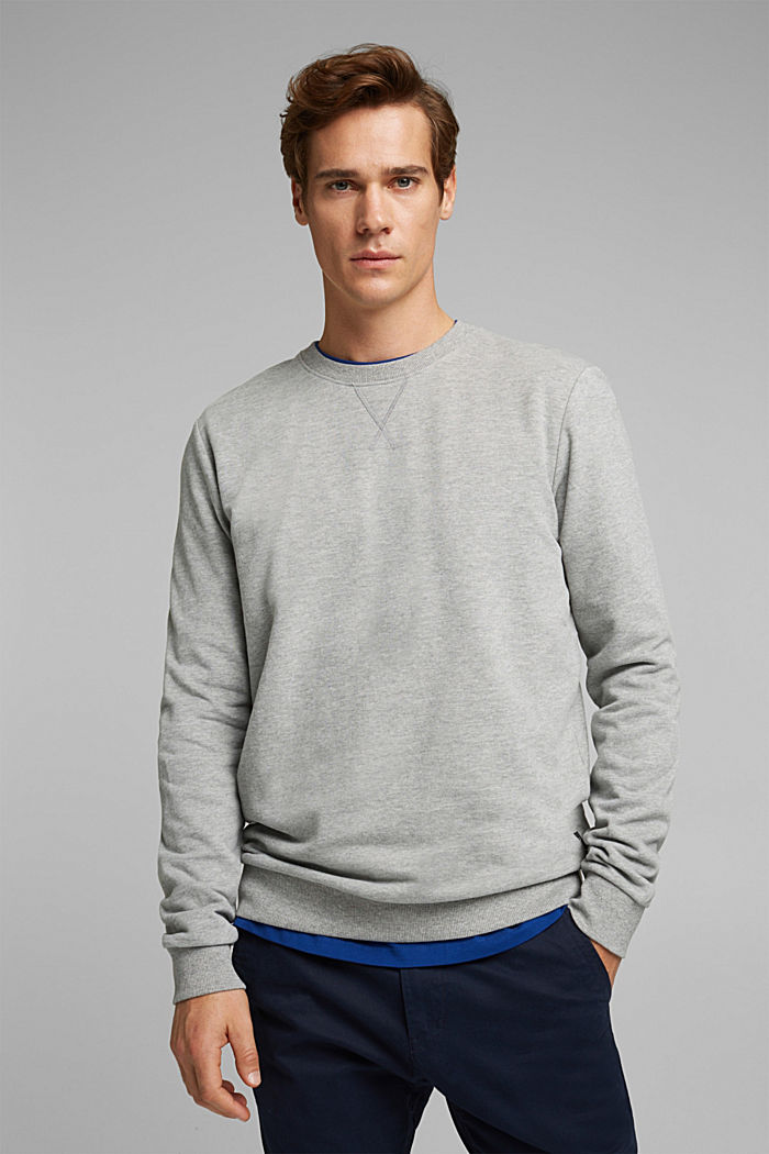 Melange sweatshirt made of 100% cotton, MEDIUM GREY, detail image number 0