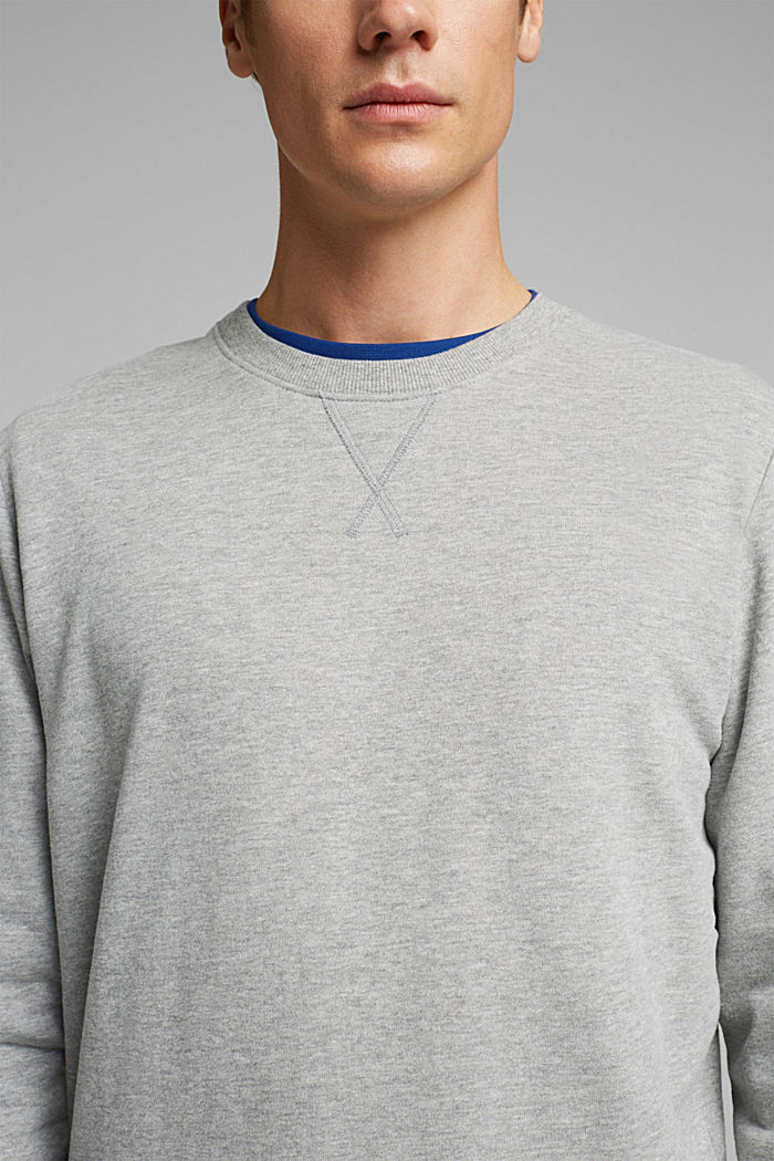Melange sweatshirt made of 100% cotton, MEDIUM GREY, detail image number 2