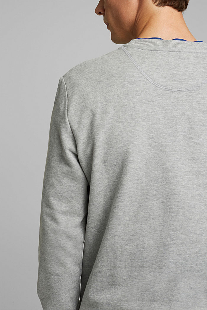 Melange sweatshirt made of 100% cotton, MEDIUM GREY, detail image number 5