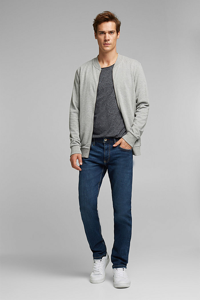 Sweat cardigan with a zip, MEDIUM GREY, detail image number 1