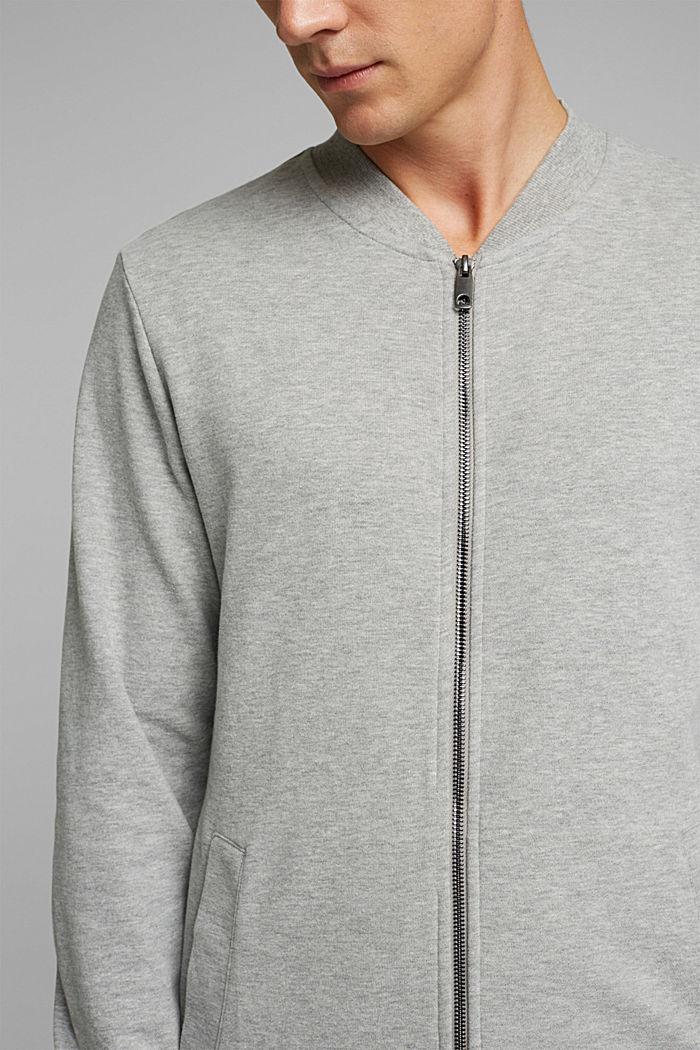 Sweat cardigan with a zip, MEDIUM GREY, detail image number 2