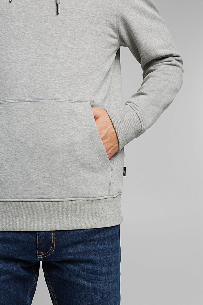 Melange cotton blend hoodie, MEDIUM GREY, detail image number 2