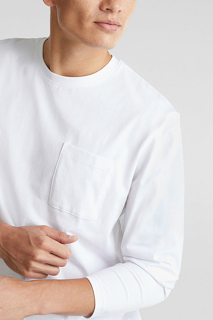 Longsleeve aus 100% Organic Cotton, WHITE, detail image number 1