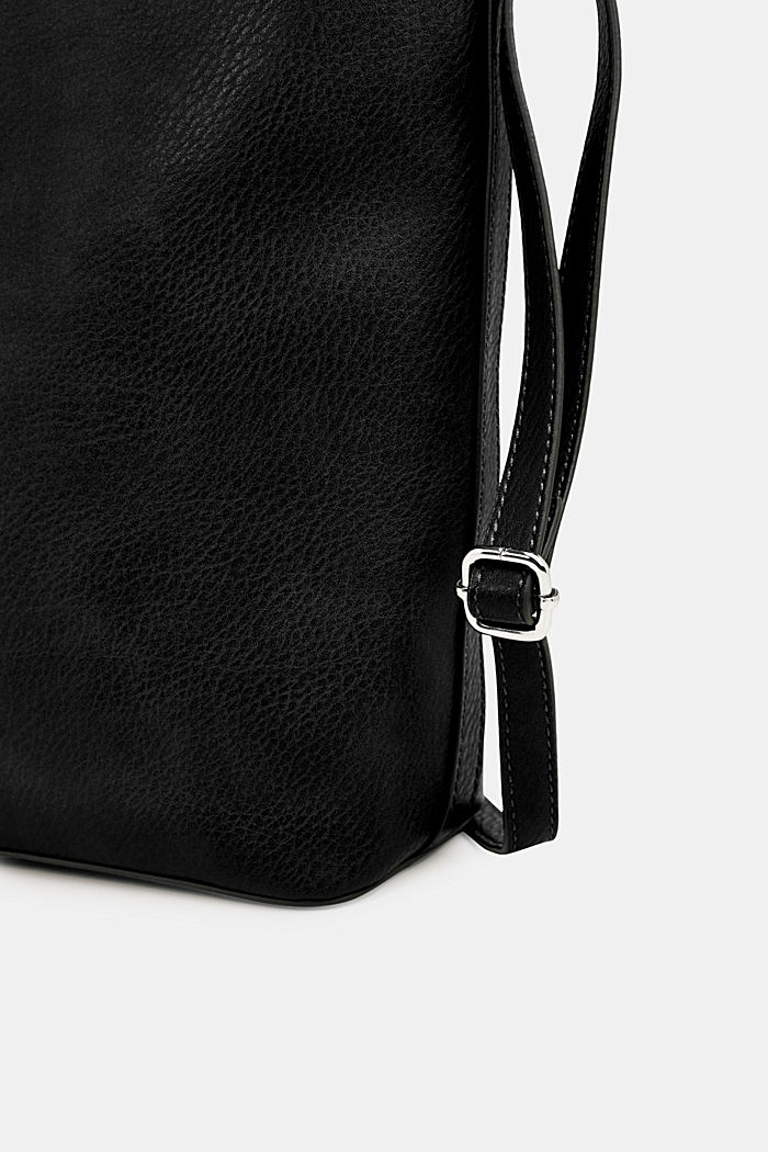 Faux leather hobo bag, BLACK, detail image number 6
