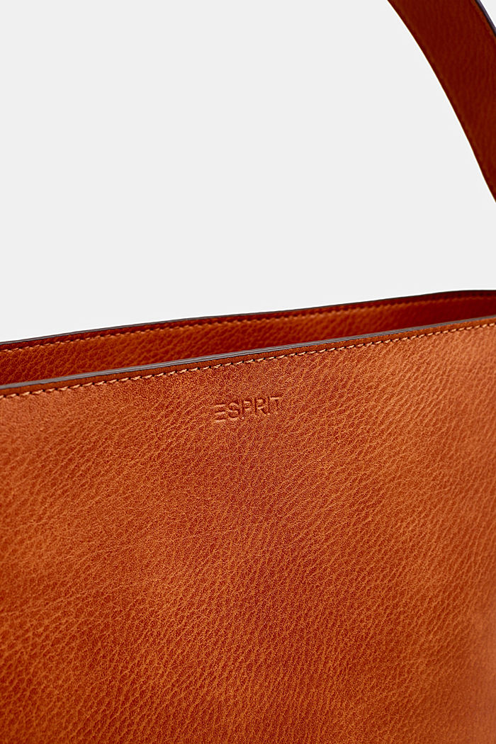 Faux leather hobo bag, RUST BROWN, detail image number 6