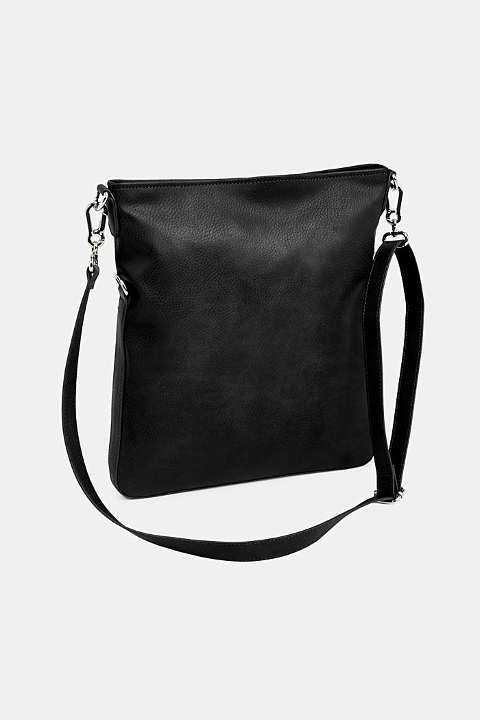 Flapover bag in faux leather, BLACK, detail image number 5