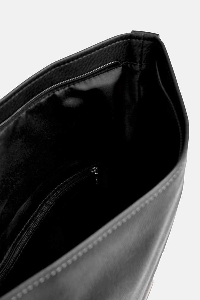 Flapover bag in faux leather, BLACK, detail image number 4
