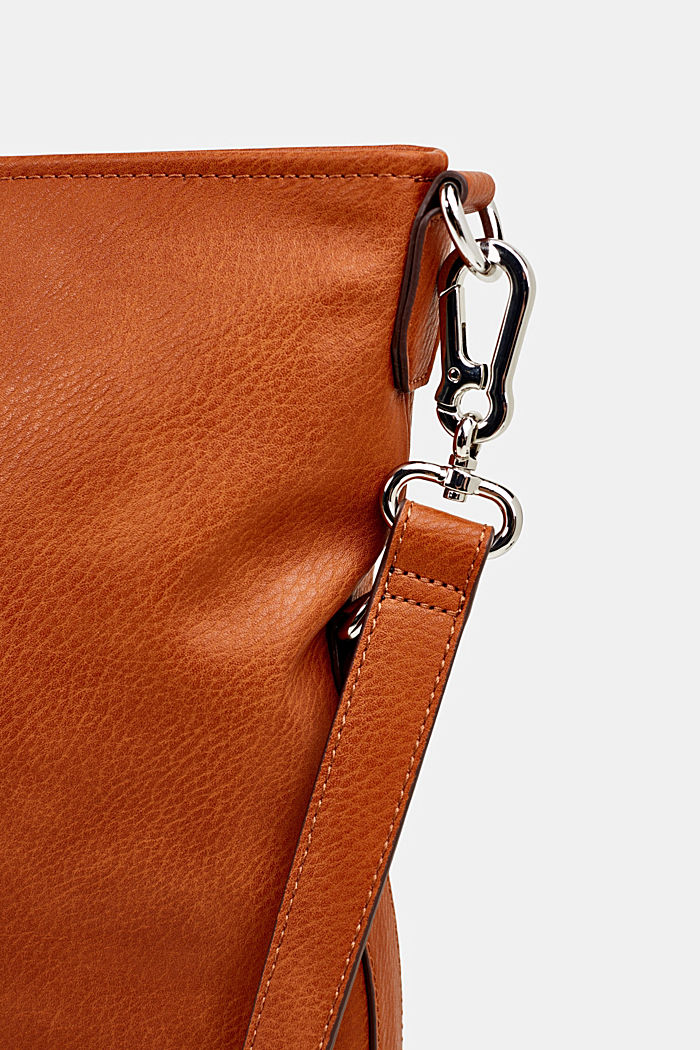 Flapover bag in faux leather, RUST BROWN, detail image number 6